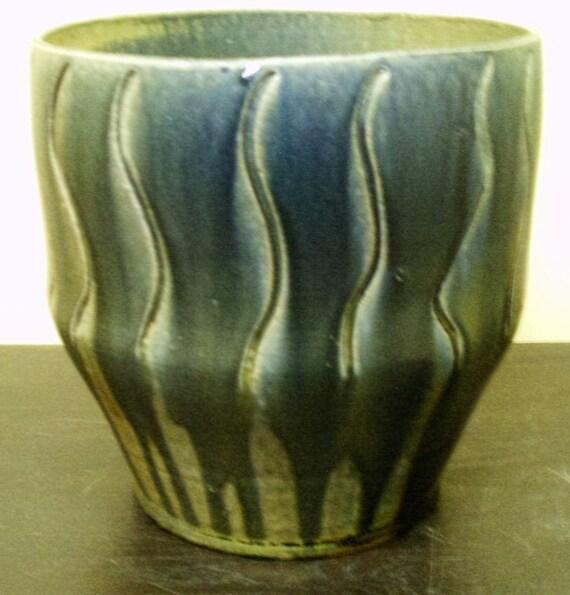 Large Carved vase in Cobalt Blue and Ash glaze...