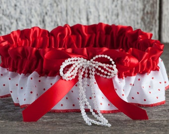 Red polka dot garter, Wedding Garter, Polka dot garter, Prom garter, Rockabilly garter, Keepsake garter, Retro garter, Toss away garter