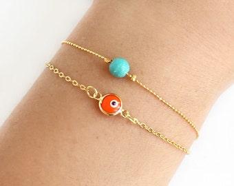 Evil eye bracelet, orange turquoise bracelet, gold evil eye, gold chain, turkish jewelry, arabic fashion, best friend birthday gift, ethnic