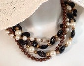 Multi Strand Torsade Statement Necklace, Fall Browns, Gold, Bronze, Copper, White Pearls, .925 Sterling Silver, Pewter