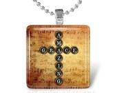 15% OFF JUNE SALE : Amazing Grace Holy Bible Jesus God Cross Religious Glass Tile Pendant Necklace Keyring