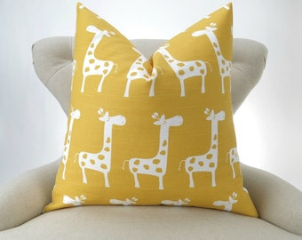 Throw Pillow, Yellow Giraffe, Accent Pillow, Decorative Throw, Cushion Cover, Nursery Decor -MANY SIZES- Stretch Corn Yellow, Premier Prints