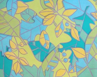 Vintage American Greetings All-Occasion Gift Wrap - Wrapping Paper - ABSTRACT Leaves - 1960s