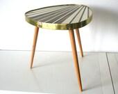 Mid Century Vintage. Sun ray coffee table. Triangle. Three leg table. Brown/cream (TA102)