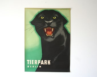 SALE 30% off! -  Original BERLIN Zoo vintage Advertising Poster 1963 - Panther design P117