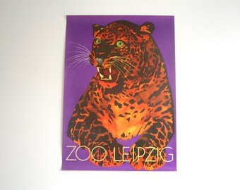 SALE 30% off! -  Original Zoo Advertising Poster- Leipzig (GDR/East Germany) 1970s- Leopard design