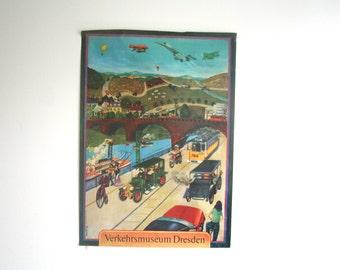 1978 Dresden Transport Museum Poster - German DDR Educational - Advert