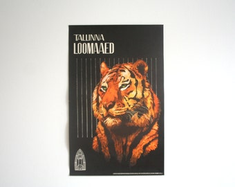 SALE 30% off! -  Original Zoo Advertising Poster - Estonia 1970s - Tiger design