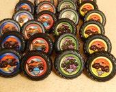 12 Monster Truck Cupcake, Cake Topper Rings Party Supply Monster Trucks