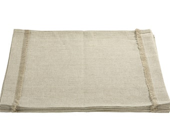 Linen placemats set - oatmeat linen placemats - fringed placemats - handmade placemat - set of placemats - natural placemats