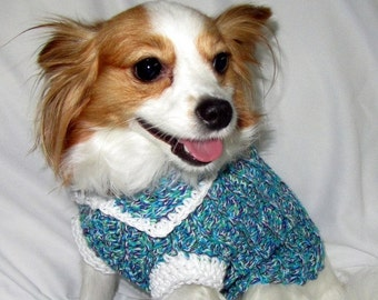 Medium Dog Sweater - Purple Green Turquoise White
