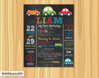 First Birthday Chalkboard Poster Boy Cute Cars | First Birthday | Customized 1st Birthday Milestone Sign | Photography Prop | Printable