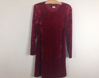 maroon velvet dress size M/L