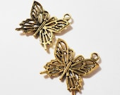 Gold Butterfly Charms 20x19mm Antique Gold Metal Flying Insect Charms, Gold Butterfly Pendants, DIY Jewelry Making, Craft Supplies