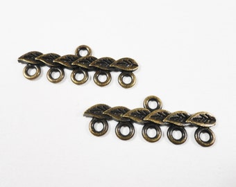 Bronze Connector Links 28x9mm Antique Brass Metal 5 to 1 Multi Strand Connector Jewelry Making Findings for Bracelet and Necklace 10pcs