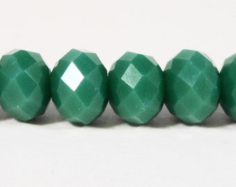 Rondelle Crystal Beads 6x4mm (4x6mm) Opaque Sage Green Faceted Chinese Crystal Glass Beads on an 8 3/4 Inch Strand with 50 Beads