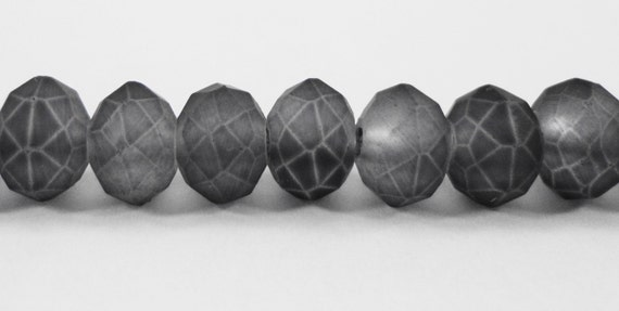 """Frosted Crystal Beads 6x4mm (4x6mm) Dark Gray Grey Crystal Rondelle Beads, Matte Chinese Crystal Glass Beads on a 9"""" Strand with 50 Beads"""