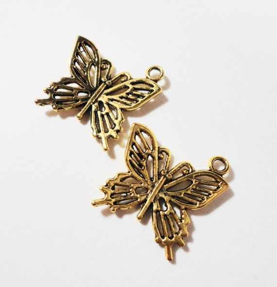 Gold Butterfly Charms 20x19mm Antique Gold Metal Flying Insect Charms, Gold Butterfly Pendants, DIY Jewelry Making, Craft Supplies, 10pcs