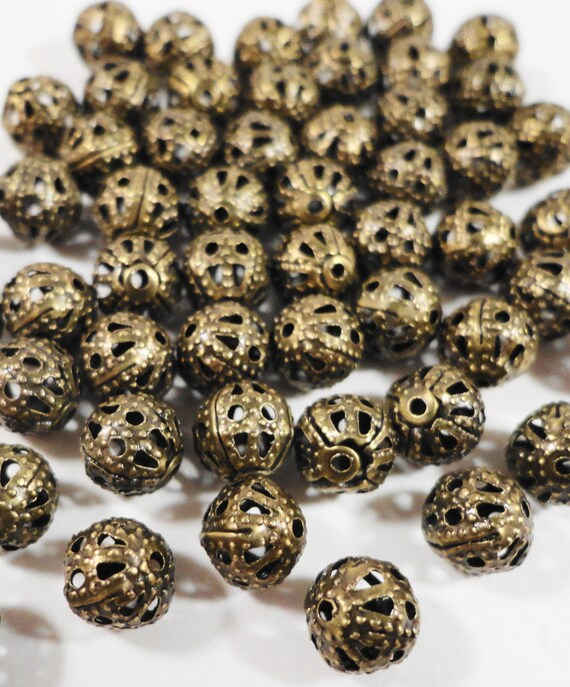 50pcs Bronze Metal Beads, 6mm Round Antique Brass Filigree Beads, Aluminum Beads, Lightweight Hollow Beads, Metal Spacer Beads, Loose Beads