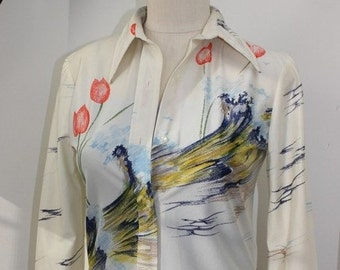 70s Nylon Longsleeve shirt with Tulips and Waves by Loubella Extendables of California 100% Nylon - 1970s collar Stage Clothes Authentic 70s