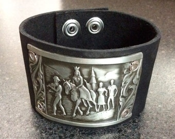 MAIDEN - Leather Cuff Pendant, Pewter Renaissance Scene, Men's Cuff Band, Bold Cuff, Unisex Jewelry, Repurposed Metal, Black Cuff, Arm Wrap