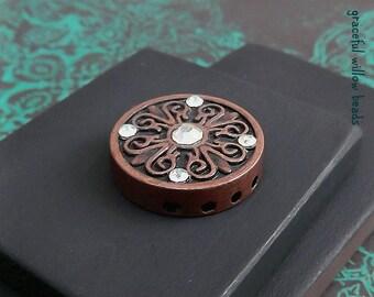 Round Fancy Scroll Faceted Crystal Five Strand Bracelet Center - Antique Copper Boho Bracelet Center - Destash Supplies - 20mm - Pkg. 1