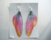 Sunset Blush Fairy wing earrings, iridescent cicada style with sterling silver ear wires, clip on version available