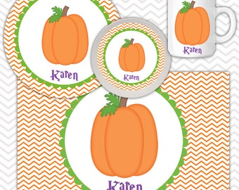 Halloween Pumpkin Plate & Bowl Set - Personalized Pumpkin Plate Set - Customized Plate and Bowl - Melamine Plate and Bowl Set for Kids
