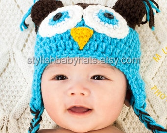Baby Owl Hat, Crochet Baby Hat, Baby Hat, Animal Hat, Blue, Pink, photo prop