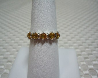 Yellow Sapphire 5-Stone Band Ring in Sterling Silver  1769