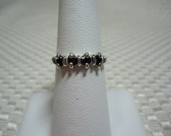 Black Sapphire 4-Stone Band Ring in Sterling Silver  1771