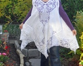 Gorgeous upcycled lace tunic, Whimsical Repurposed cotton lace, Bathing suit Cover, Long Vest, ONE size fits most, Lagenlook, Cottage Chic