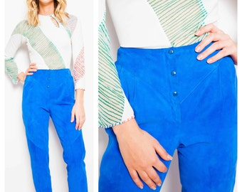 buttery soft vintage 70s/80s BRUNO MAGLI cobalt blue suede high waisted tapered pants trousers