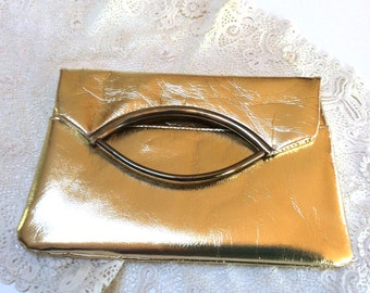 Vintage Evening Clutch Purse, Gold Evening Purse, Disco Style, 1970s