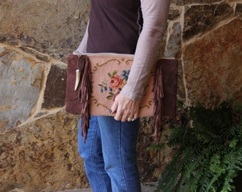 Vintage Needlepoint Clutch, Suede Fringed with antler FREE SHIPPING
