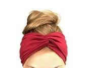 Burgundy red twist headband turban Jersey head wrap stretch turband fall fashion accessories wine garnet gift for her womens under 20