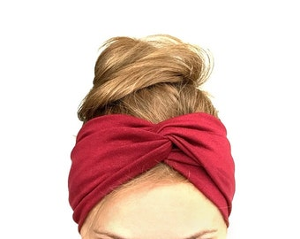 Burgundy red twist headband turban Jersey head wrap stretch turband fall fashion accessories wine garnet gift for her womens under 20