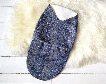 """Swaddle """"Cocoon"""" in Douglas Stripe Liberty fabric and extra soft anti-pill fleece"""