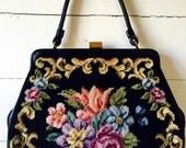 vintage purse • tapestry handbag • 50s purse • black vintage handbag • high end vintage