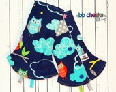 READY TO SHIP!  Night Owl Corner Drool / Suck Pads for Lillebaby Tula Ergo carrier straps