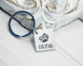 Thespian - Hand Stamped Fangirl Key Chain - Drama Masks - Thespian Mask - Theatre Necklace