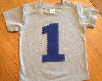Number 1 Birthday Shirt, First Birthday, Large Number, Retro Style Number Short & Long Sleeve