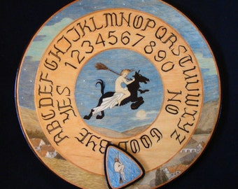 "Ouija board - Spirit board - Talking board ""Flight of the Young Witch"" / Any Alphabet & Free Shipping"