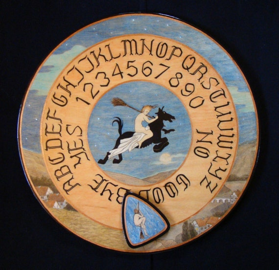 """Ouija board - Spirit board - Talking board """"Flight of the Young Witch"""" / Any Alphabet & Free Shipping"""