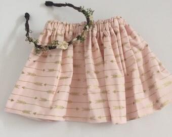 Pink and gold Arrow Baby Skirt...pink ans Gold Arrow Toddler Skirt... Pink Baby Skirt.. Pink Toddler Skirt.... Aztec Circle Skirt...arrow