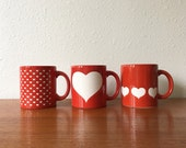 Set of Vintage Waechtersbach W. Germany Heart Mugs