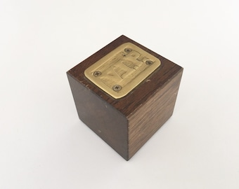 Vintage Brass and Wood VIP Paper Weight