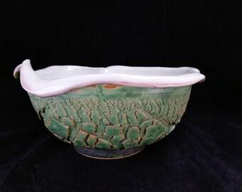 ChingWenArts handmade stoneware Bowl Pot Signed, Green, E024