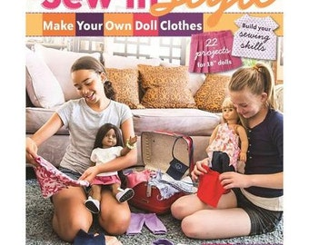 """Sew In Style Make Your Own Doll Clothes Book by Erin Hentzel for 18"""" Dolls"""