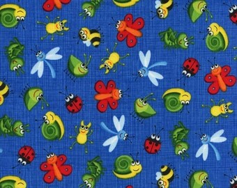 Timeless Treasures-Mini Bugs from the Kidz Collection C1913 in Blue